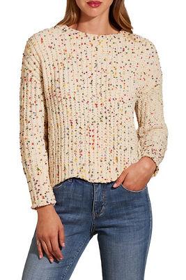 Multi chenille scalloped hem sweater