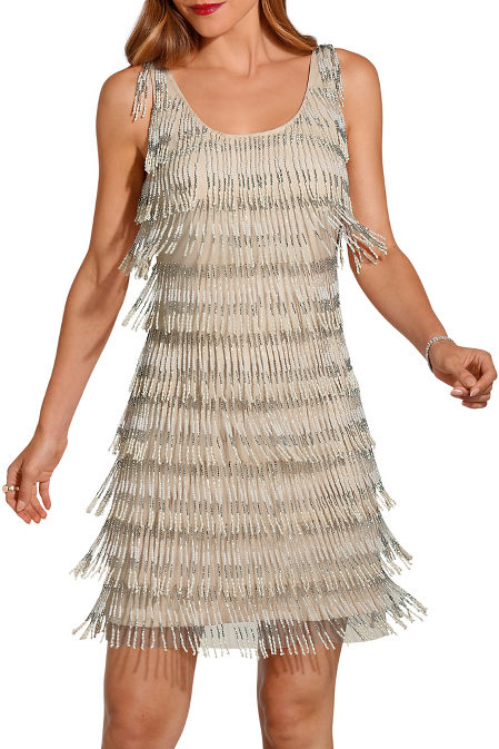 OmbrÉ beaded fringe dress image