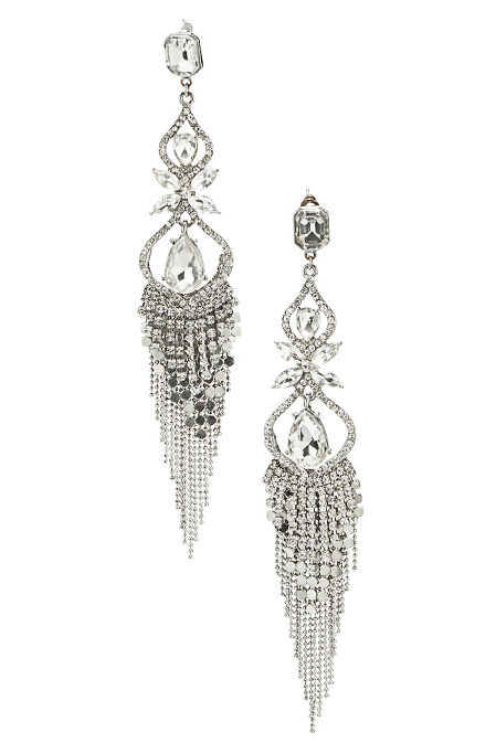 Chain fringe crystal earrings image