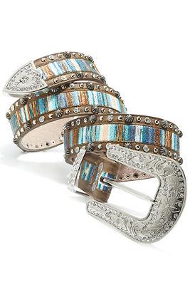 Multicolor striped belt