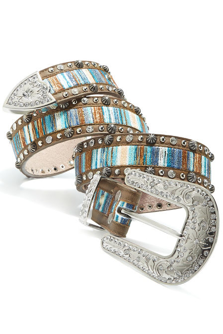 Multicolor striped belt image