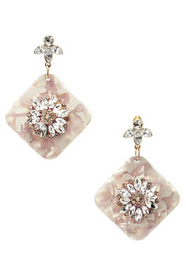 blush crystal resin earrings