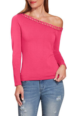 Asymmetric trim detail long sleeve sweater