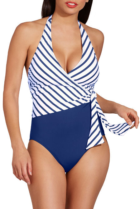 Asymmetrical tie one piece swimsuit image