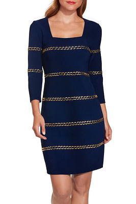 Beyond travel™ gold chain dress