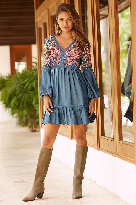 Beaded chambray dress image