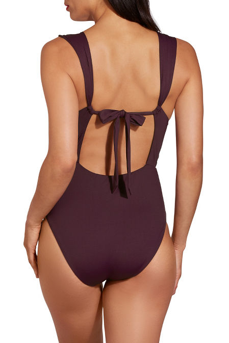 Beaded plunging one piece swimsuit image