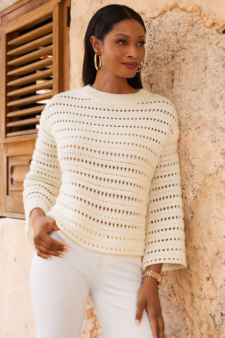 Bell sleeve open knit sweater image
