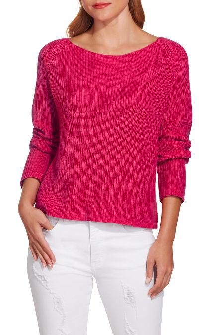 Boat neck long sleeve slouchy sweater image