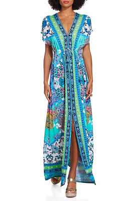 Border print maxi dress