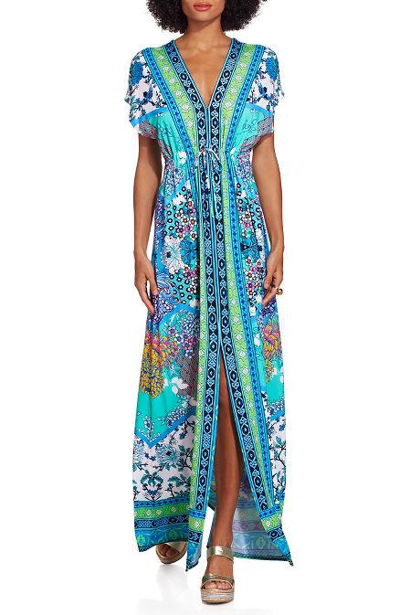 Border print maxi dress image