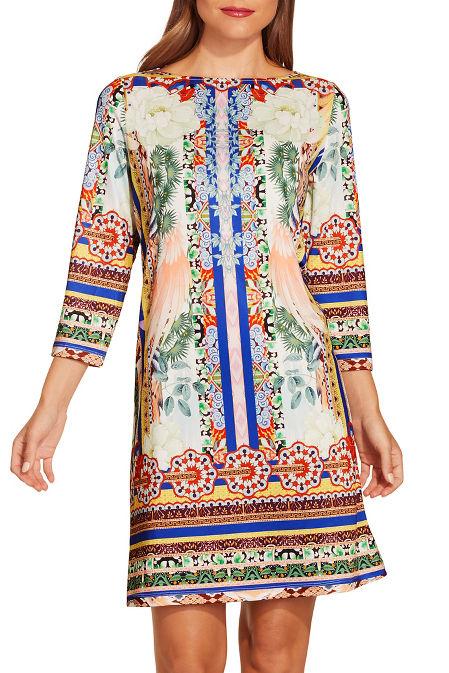 Border print shift dress image