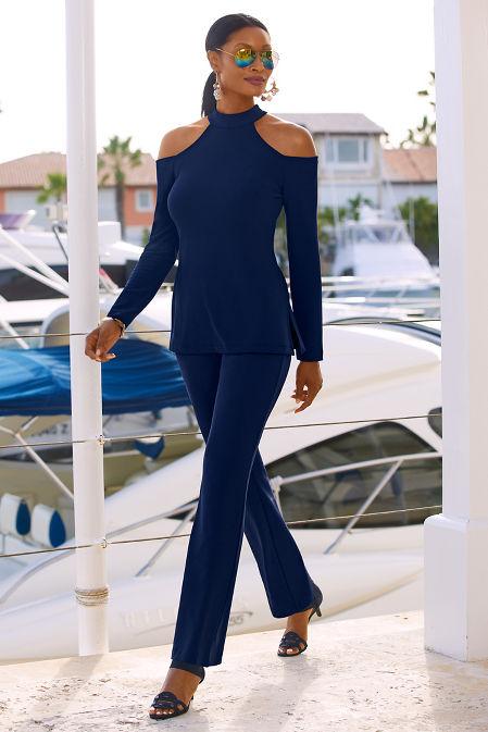 Beyond travel™ cold shoulder mock neck long sleeve top image
