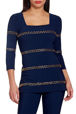 Beyond travel™ square neck chain embellished top