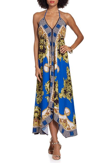 Chain border print halter dress image
