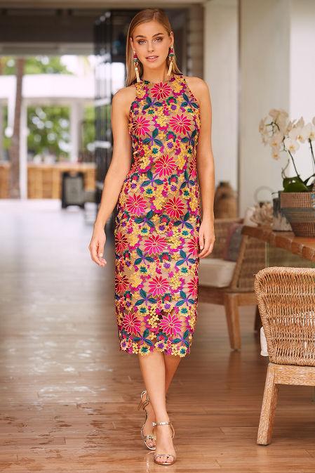 Color pop lace sheath dress image