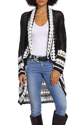 Colorblock crochet cardigan