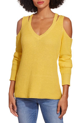 Cold shoulder cutout v neck sweater