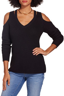 Cold shoulder cutout v neck sweater