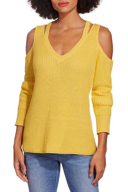 Cold shoulder cutout v neck sweater image
