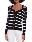 Cold Shoulder Stripe Button Down Cardigan Photo