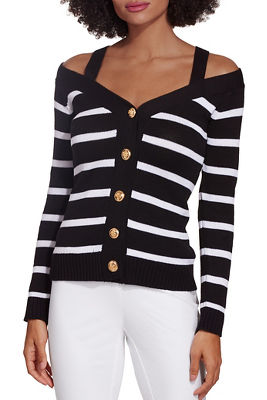 Cold shoulder stripe button down cardigan