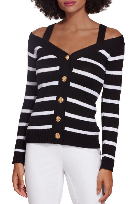 Cold shoulder stripe button down cardigan image