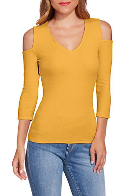 Cold shoulder v neck ribbed top