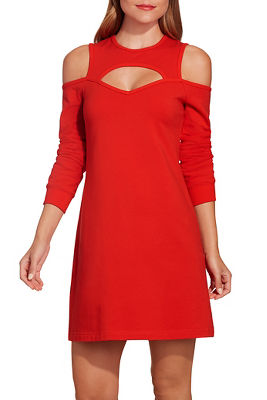 Cutout cold shoulder sweatshirt dress