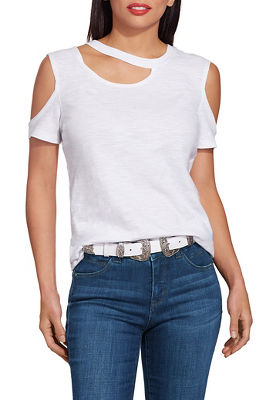 cutout neck cold shoulder slub tee