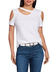Cutout Neck Cold Shoulder Slub Tee Photo