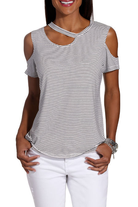 Cutout neck stripe slub tee image