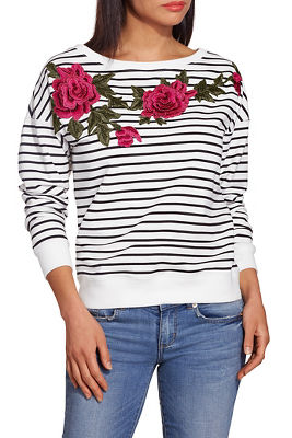 Display product reviews for Floral appliqué sweatshirt