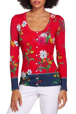 Floral border print cardigan