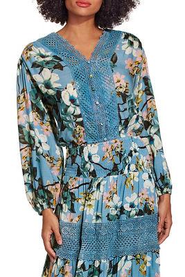 Floral crochet long sleeve blouse