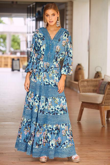 Floral crochet long sleeve blouse image