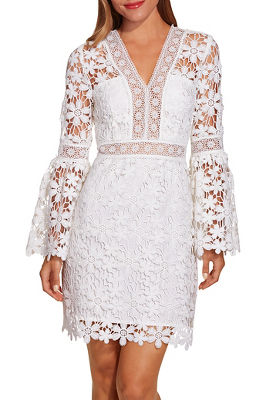 Floral lace flare sleeve dress
