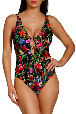 Hardware plunge floral one piece swimsuit