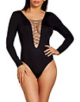 Long Sleeve Plunging Lace Up Maillot Photo