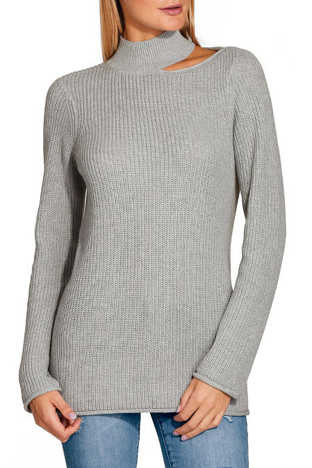 Mock neck cutout slouchy sweater image