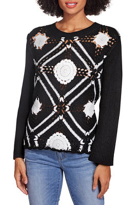 Medallion colorblock crochet sweater