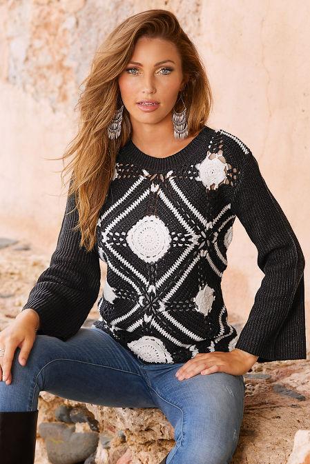 Medallion colorblock crochet sweater image