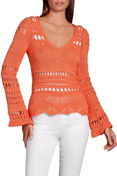 Open knit flare sleeve v neck sweater image