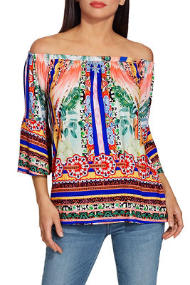 off the shoulder border print top