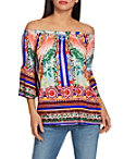 Off The Shoulder Border Print Top Photo