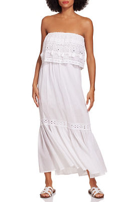 Strapless mirrored tassel dress