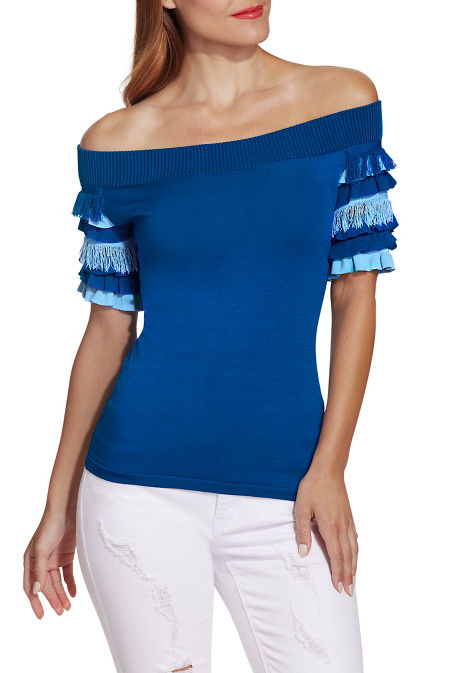 Off the shoulder tiered ruffle sleeve sweater image