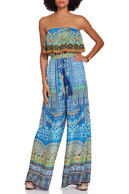 Strapless tile print jumpsuit