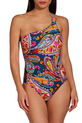 Paisley one shoulder one piece swimsuit