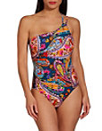 Paisley One Shoulder One Piece Swimsuit Photo